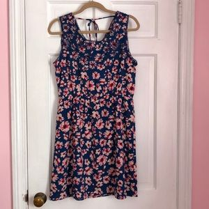 Market & Spruce blue dress with pink flowers